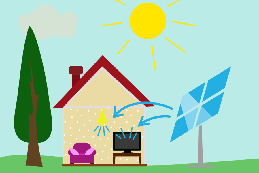 Petite installation photovoltaïque pour maison individuelle ou site isolé avec autoconsommation de l'énergie produite.